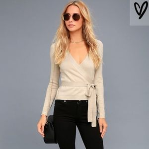 Beige Long Sleeve Wrap Sweater Top